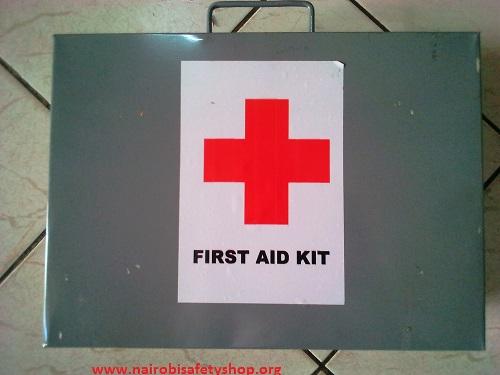 Large Grey Metallic First Aid Kit