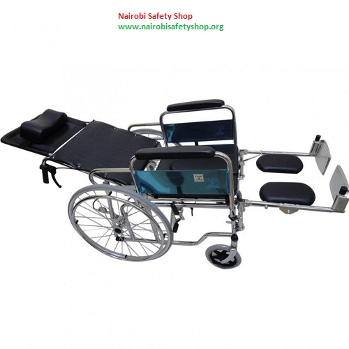 Heavy Duty Chrome Reclining Wheelchair with Commode attachment