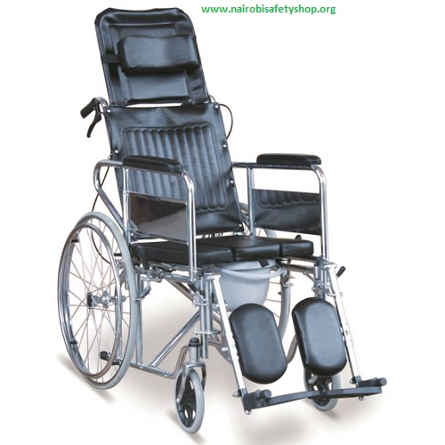 Reclining Commode Wheelchair With Detachable Armrests & Detachable Elevating Footrests