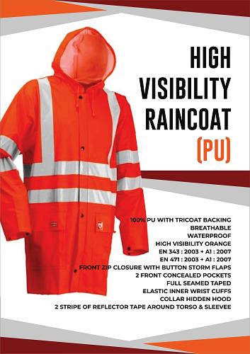 High Visibility Rain Coat(PU)